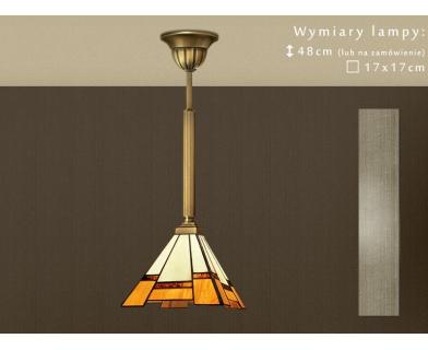 Lampa mosiężna z witrażowym kloszem O-S1M