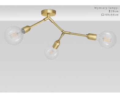 Niska nowoczesna lampa sufitowa z mosiądzu TZ-S3K