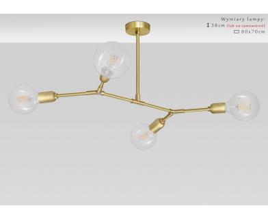 Nowoczesna mosiężna lampa wisząca 4 punktowa TZ-S4T