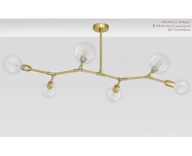 Złoty żyrandol mosiężny do dużego salonu TZ-S6T