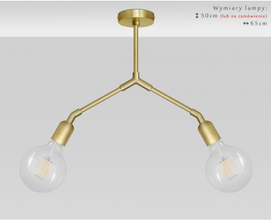 Złota lampa wisząca 2-punktowa TZ-S2D