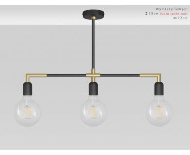 Lampa nad stół w kolorze czarno-złotym TZR-S3XL