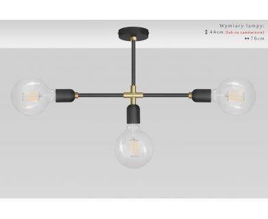 Lampa sufitowa czarno-złota TZR-S3X