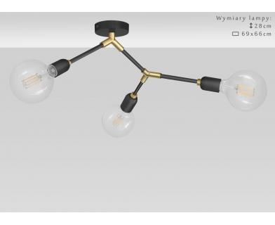 Czarno złoty niski żyrandol z mosiądzem TZR-S3K