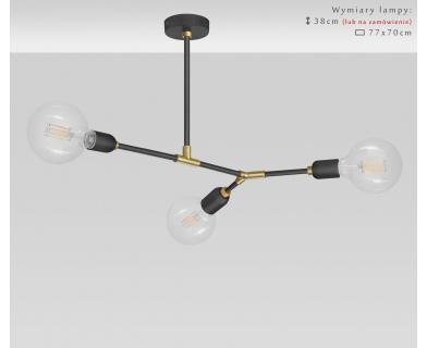Czarno-złoty loftowy żyrandol z mosiądzu TZR-S3T