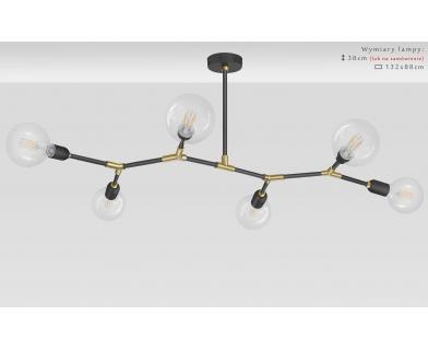 Czarno-złoty żyrandol mosiężny do salonu TZR-S6T