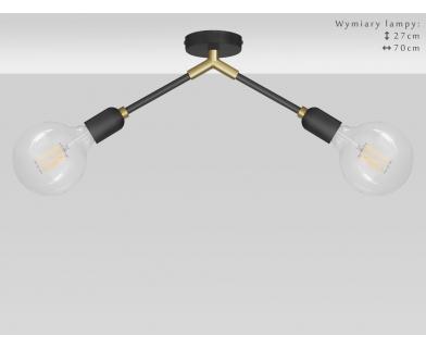 Krótka lampa czarno-złota z mosiądzem TZR-S2K