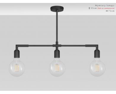 Czarna lampa sufitowa nad stół TZC-S3XL