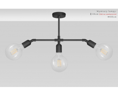 Czarna lampa wisząca 3-punktowa TZC-S3XD