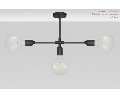 Czarna lampa sufitowa TZC-S3X