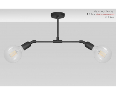 Niska czarna dwupunktowa lampa wisząca TZC-S2TD