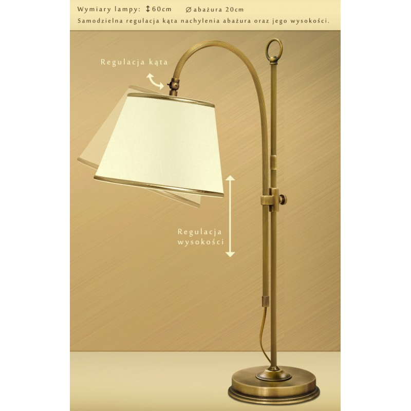 Lampa Stołowa Z Abażurem L B1w Klasyczne Lampy Mosiężne