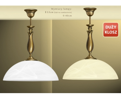 Lampa mosiężna z 1 kloszem M-S1D