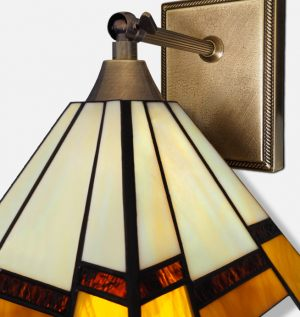 Lampa witrażowa mosiężna